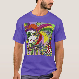 Psychedelic Mardi Gras Feather Mask T-Shirt