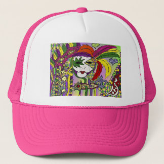 Psychedelic Mardi Gras Feather Mask Trucker Hat