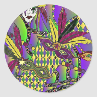 Psychedelic Mardi Gras Feather Masks Gifts Apparel Round Sticker