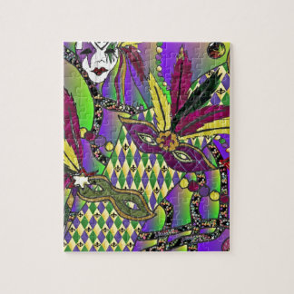 Psychedelic Mardi Gras Feather Masks Jigsaw Puzzle