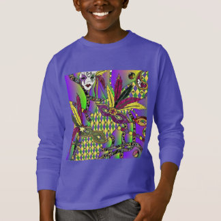 Psychedelic Mardi Gras Feather Masks T-Shirt