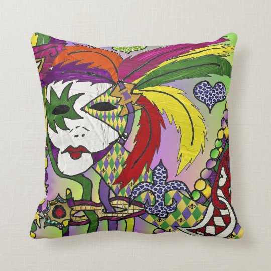 Psychedelic Mardi Gras Feather Masks Throw Pillow