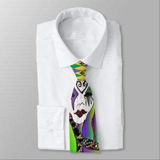 Psychedelic Mardi Gras Mask Art Print Tie