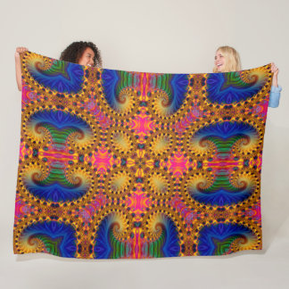Psychedelic Mardi Gras Rabbit Acid Trip Mandala Fleece Blanket