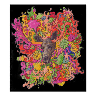 Psychedelic Moose Poster