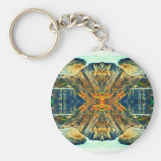 Psychedelic Mountain Range Painting Pattern Keychain