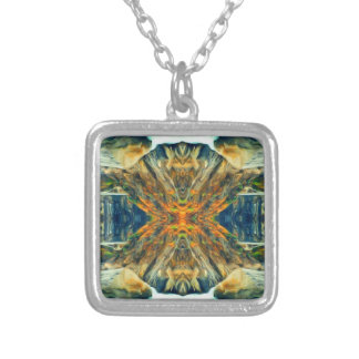Psychedelic Mountain Range Painting Pattern Silver Plated Necklace