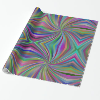 Psychedelic Multi-Colored Swirl Pattern Wrapping Paper