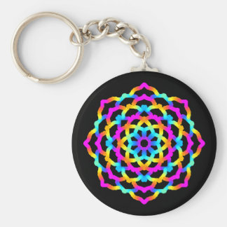 Psychedelic Multicoloured Mandala key-ring Keychain