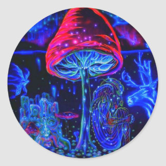 Psychedelic Mushroon blue moon Round Sticker