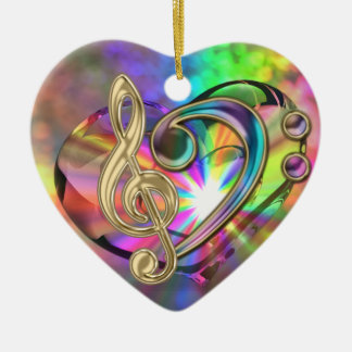 Psychedelic Music Heart Clefs Ornament