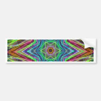 Psychedelic Neon Cool Modern Star Shapes Bumper Sticker