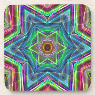 Psychedelic Neon Cool Modern Star Shapes Drink Coasters