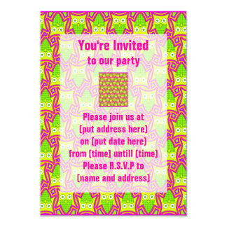 Psychedelic Neon Owl Pattern 5x7 Paper Invitation Card