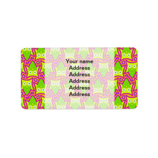 Psychedelic Neon Owl Pattern Address Label