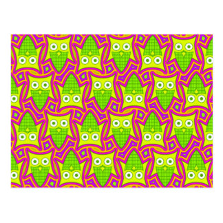 Psychedelic Neon Owl Pattern Postcard