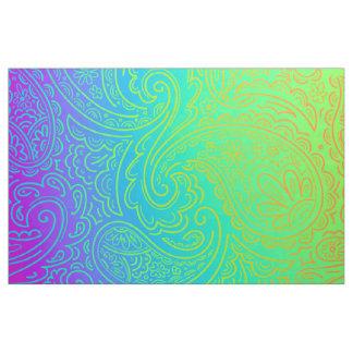 Psychedelic Neon Rainbow Paisley Fabric