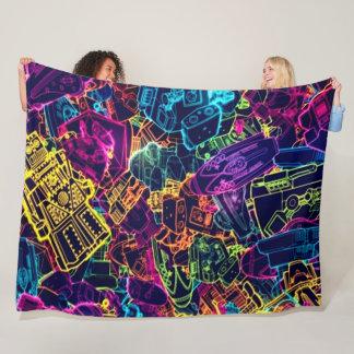 Psychedelic Neon Robot Universe Satin Art Fleece Blanket