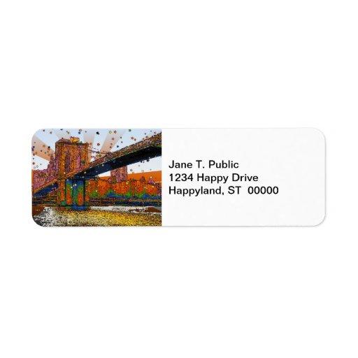 Psychedelic NYC: Brooklyn Bridge #1 Return Address Label