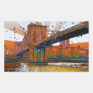 Psychedelic NYC: Brooklyn Bridge #1 Rectangular Sticker