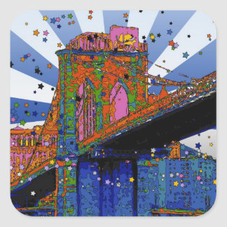 Psychedelic NYC: Brooklyn Bridge #2 Square Stickers