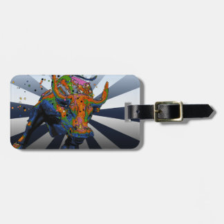 Psychedelic NYC: Charging Bull of Wall Street Luggage Tag