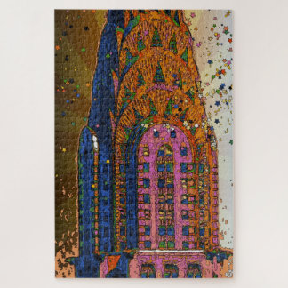 Psychedelic NYC Chrysler Building Top Closeup #1 Jigsaw Puzzle