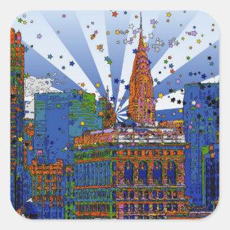 Psychedelic NYC: Chrysler, Flatiron #1 Square Sticker