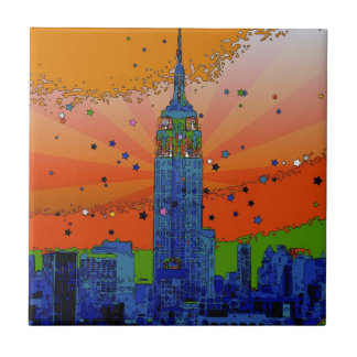 Psychedelic NYC: Empire State Building #3 Tiles