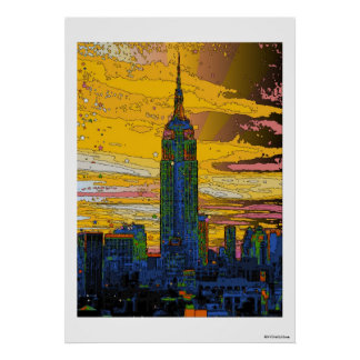 Psychedelic NYC: Empire State Building B4 Poster