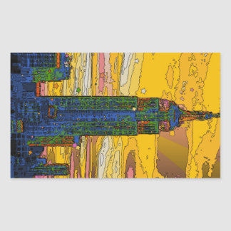 Psychedelic NYC: Empire State Building B4 Rectangular Sticker