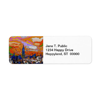 Psychedelic NYC Empire State Building & Skyline A1 Return Address Label