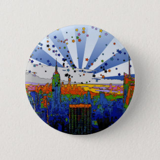 Psychedelic NYC: ESB Wide Skyline View 2 Inch Round Button