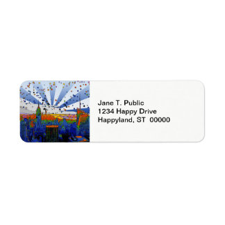 Psychedelic NYC: ESB Wide Skyline View Return Address Label