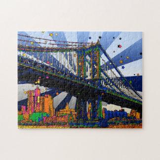 Psychedelic NYC: Manhattan Bridge #1 Jigsaw Puzzle