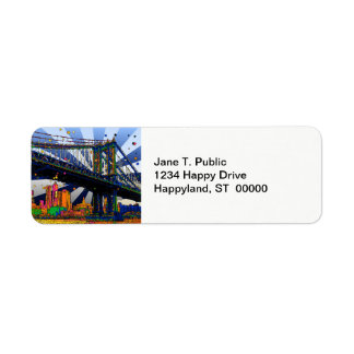 Psychedelic NYC: Manhattan Bridge #1 Return Address Label