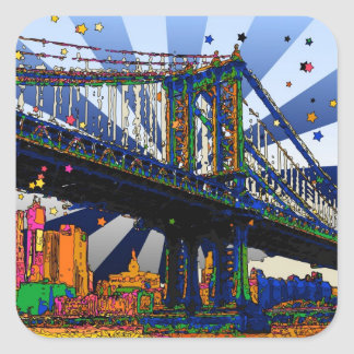 Psychedelic NYC: Manhattan Bridge #1 Square Sticker