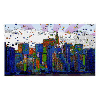 Psychedelic NYC: NYC Skyline, Chrysler Bldg Business Card