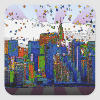 Psychedelic NYC: NYC Skyline, Chrysler Bldg Square Stickers
