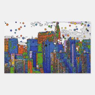 Psychedelic NYC: NYC Skyline, Chrysler Bldg Rectangular Sticker