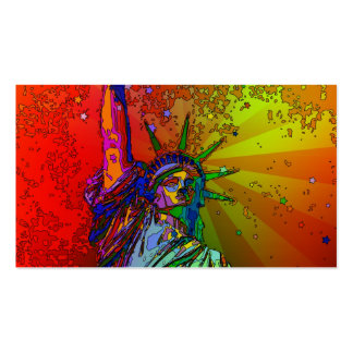 Psychedelic NYC Rainbow Color Statue of Liberty 1R Business Card