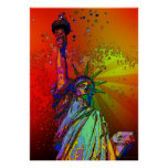 Psychedelic NYC Rainbow Colour Statue of Liberty Poster