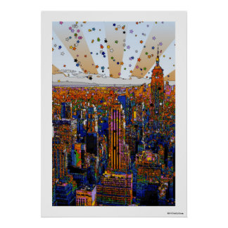 Psychedelic NYC Skyline: ESB, WTC #1 Poster