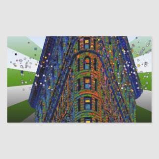 Psychedelic NYC: Top of the Flatiron Building B1 Rectangular Sticker