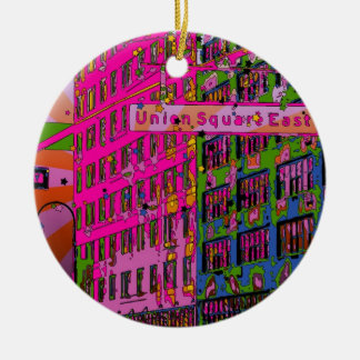 Psychedelic NYC: Union Square Building, St Sign A3 Ceramic Ornament