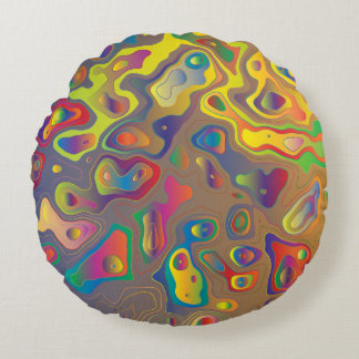 Psychedelic Oils Round Pillow