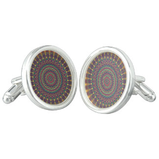 Psychedelic oval  mandala cuff links