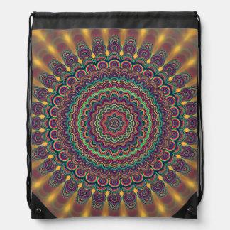 Psychedelic oval  mandala drawstring bag