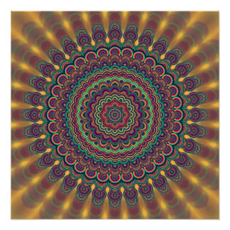 Psychedelic oval  mandala perfect poster