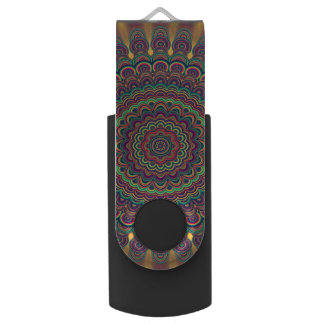 Psychedelic oval  mandala swivel USB 3.0 flash drive